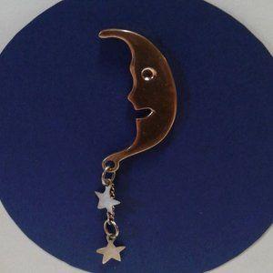 Handmade Moon & Stars Lapel Pin